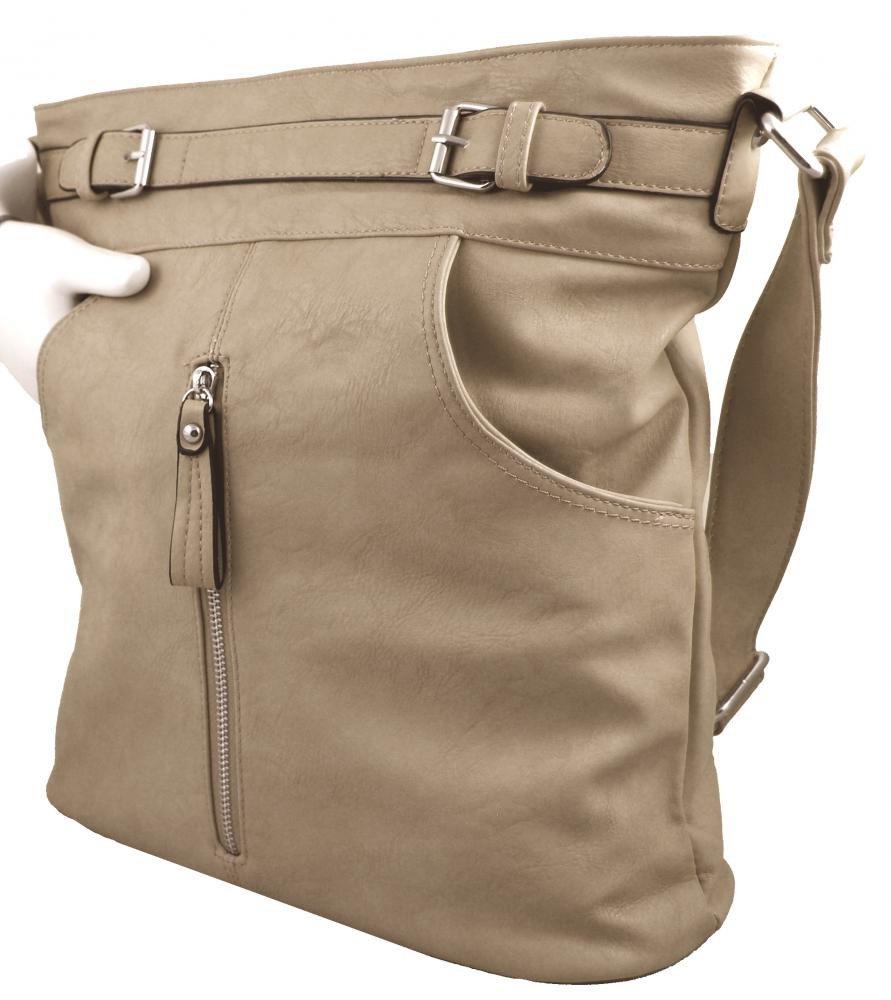 Crossbody kabelka s předními kapsami D1067 béžová