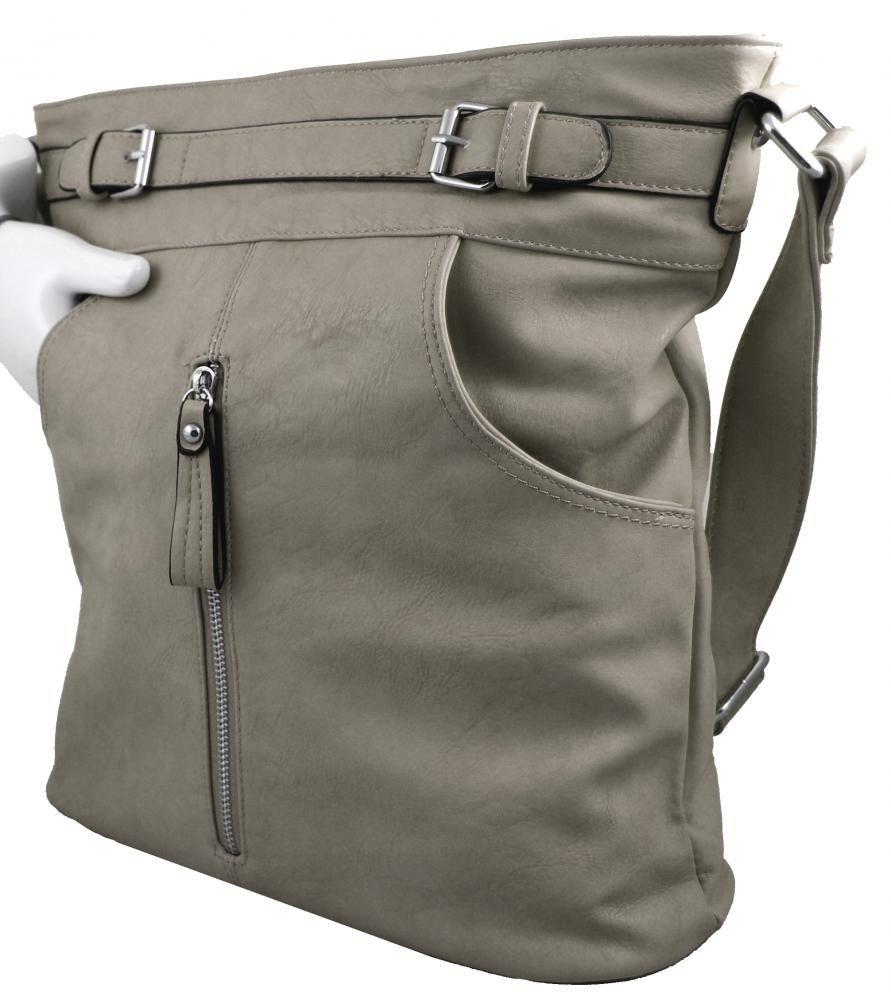 Crossbody kabelka s předními kapsami D1067 světle šedá