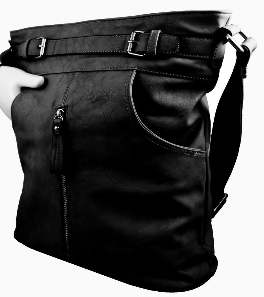 Crossbody kabelka s předními kapsami D1067 černá