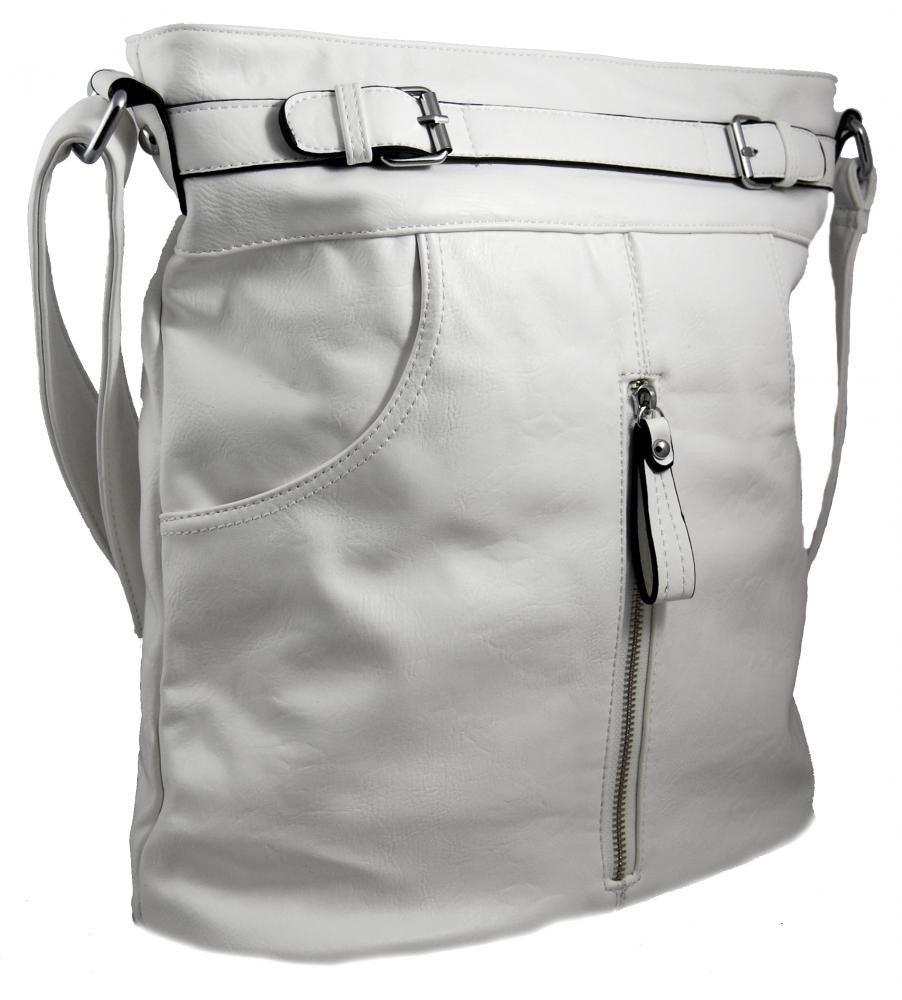 Crossbody kabelka s předními kapsami D1067 bílá
