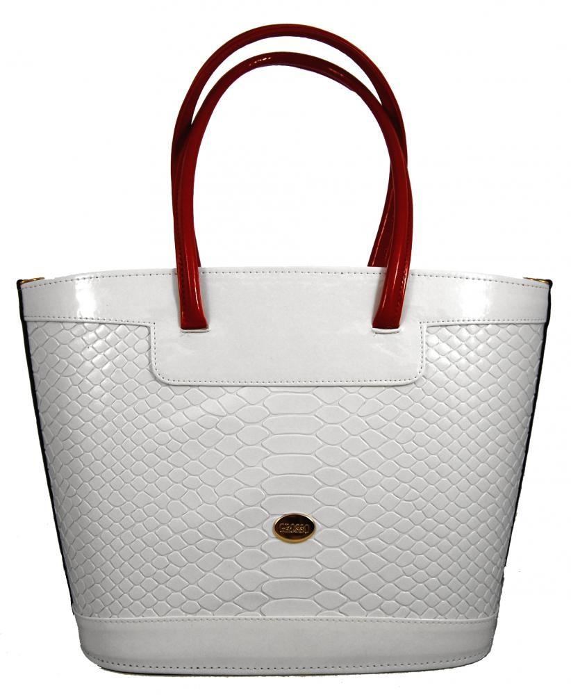 Bílá kroko kabelka na rameno S312 GROSSO