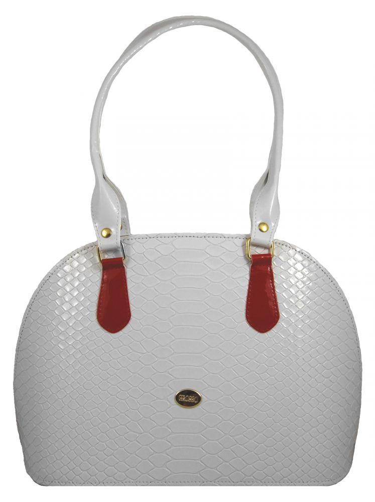 Bílá kroko kabelka na rameno S324 GROSSO