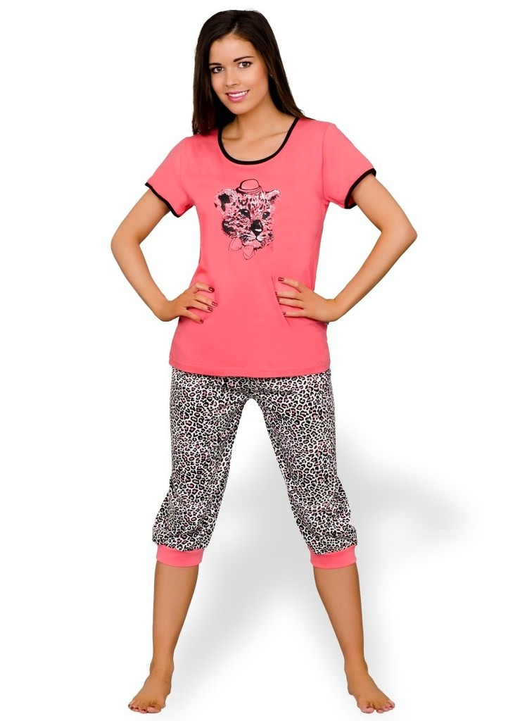 Dámské pyžamo s obrázkem geparda a capri kalhotami