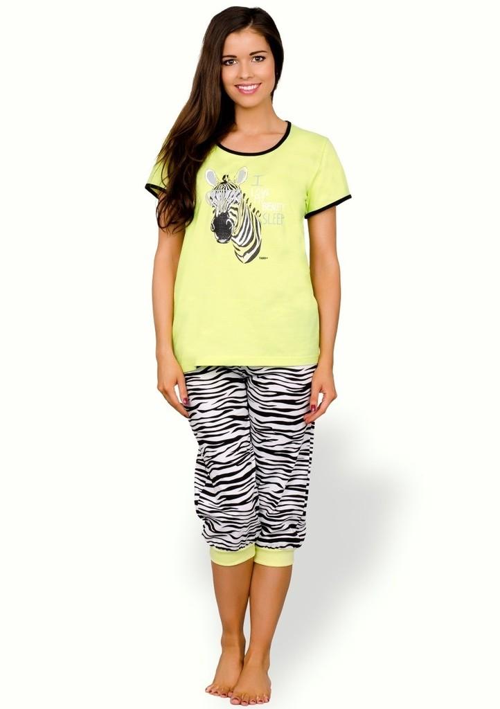 Dámské pyžamo s obrázkem zebry a capri kalhotami