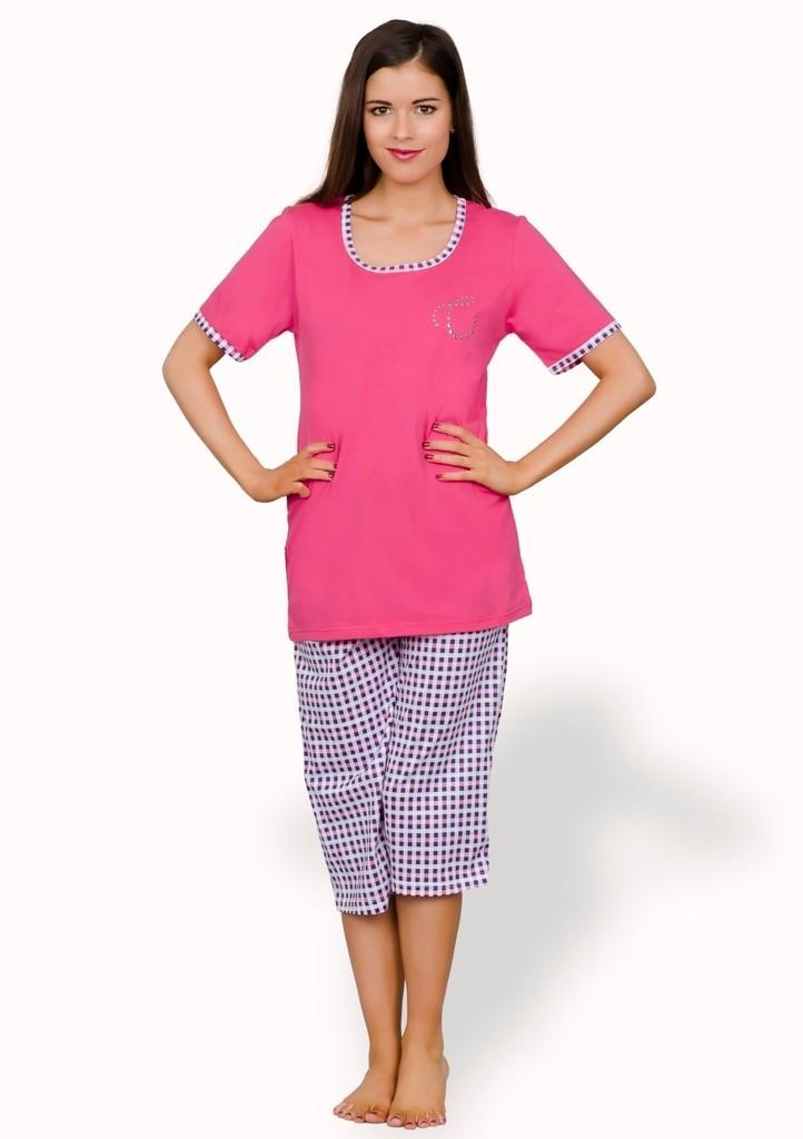 Dámské pyžamo capri se vzorem barevné kostky
