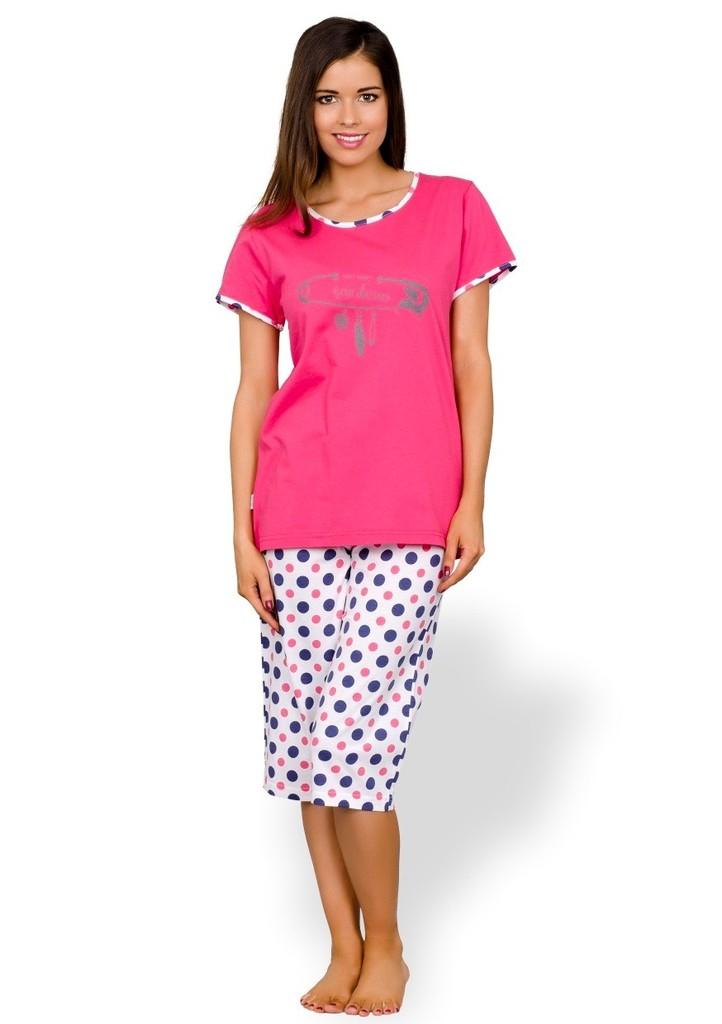 Dámské pyžamo capri se vzorem barevných puntiků