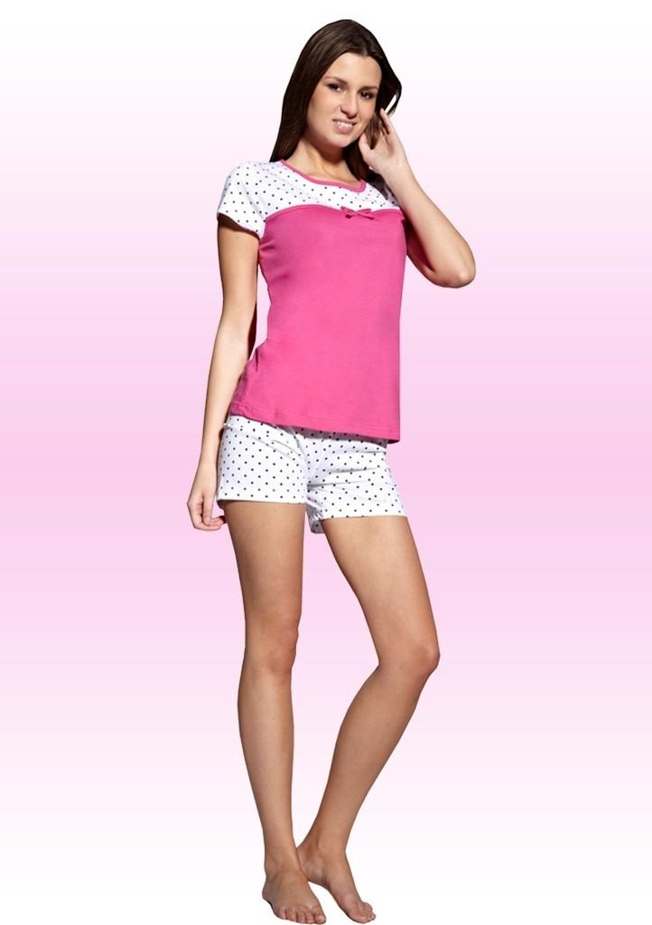 Dámské pyžamo s kraťasy se vzorem puntíků