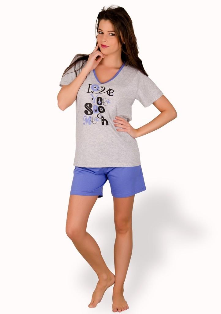 Dámské pyžamo s nápisem Love you a kraťasy