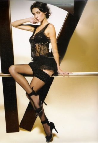 Punčochy Michelle 01 černé samonosné