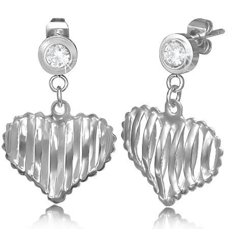 Ocelové náušnice srdce th-epp435