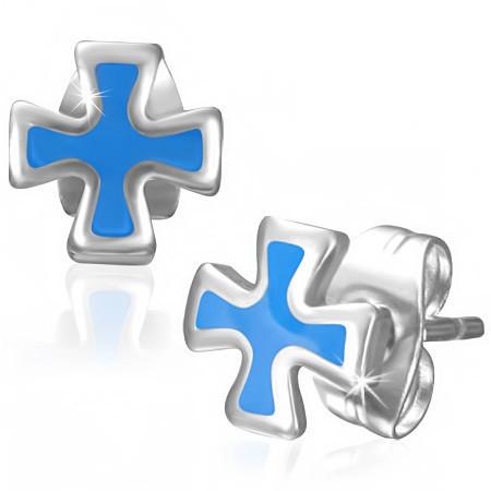 Ocelové náušnice - kříž th-jes266