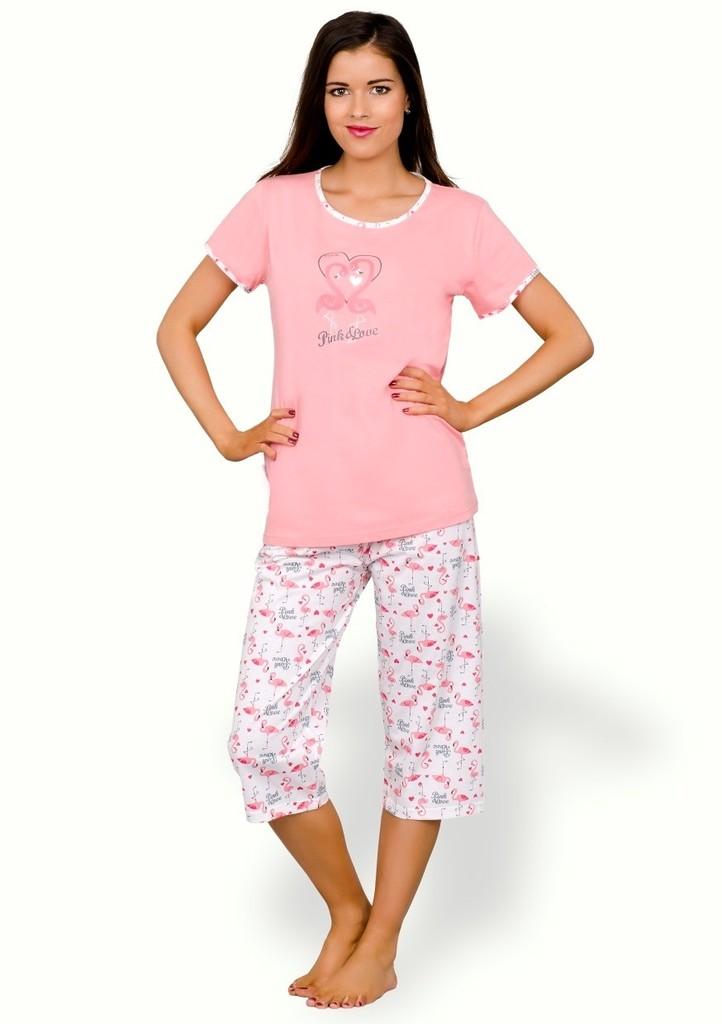 Dámské pyžamo s obrázkem plameňáků a capri kalhotami
