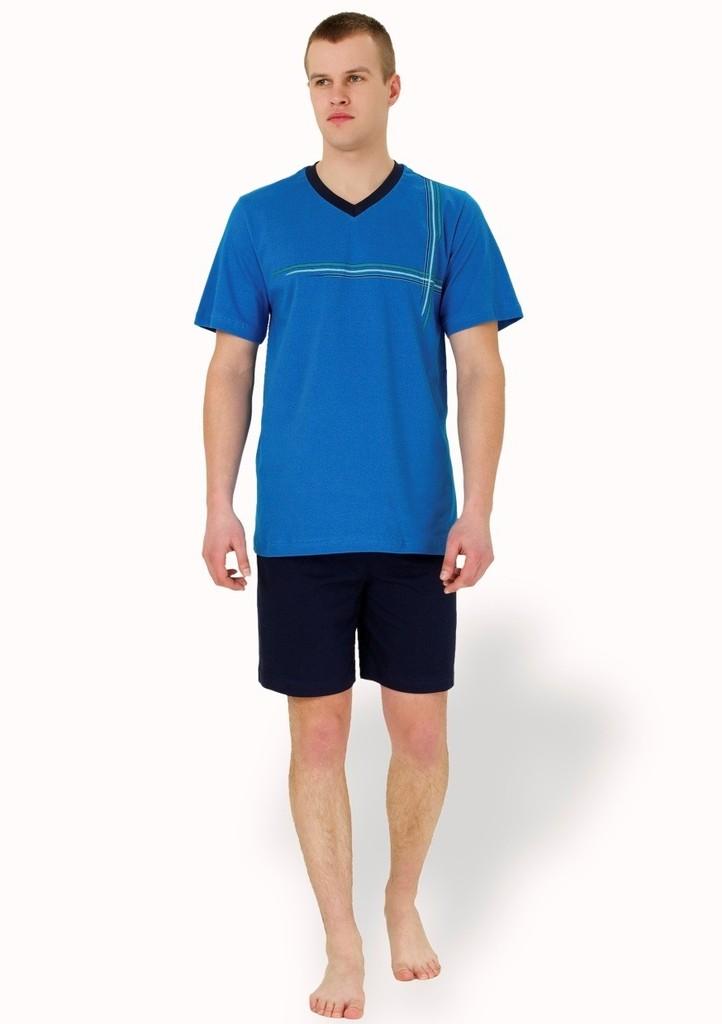 Pánské pyžamo s barevnými proužky a kraťasy
