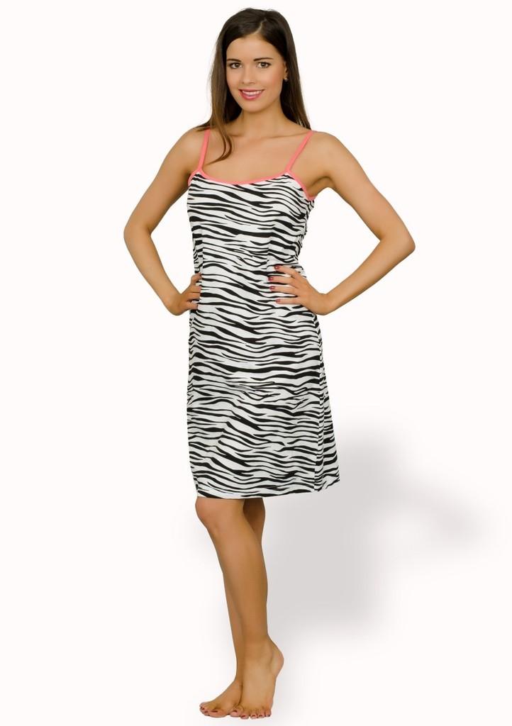 Dámská noční košile na ramínka vzor zebra