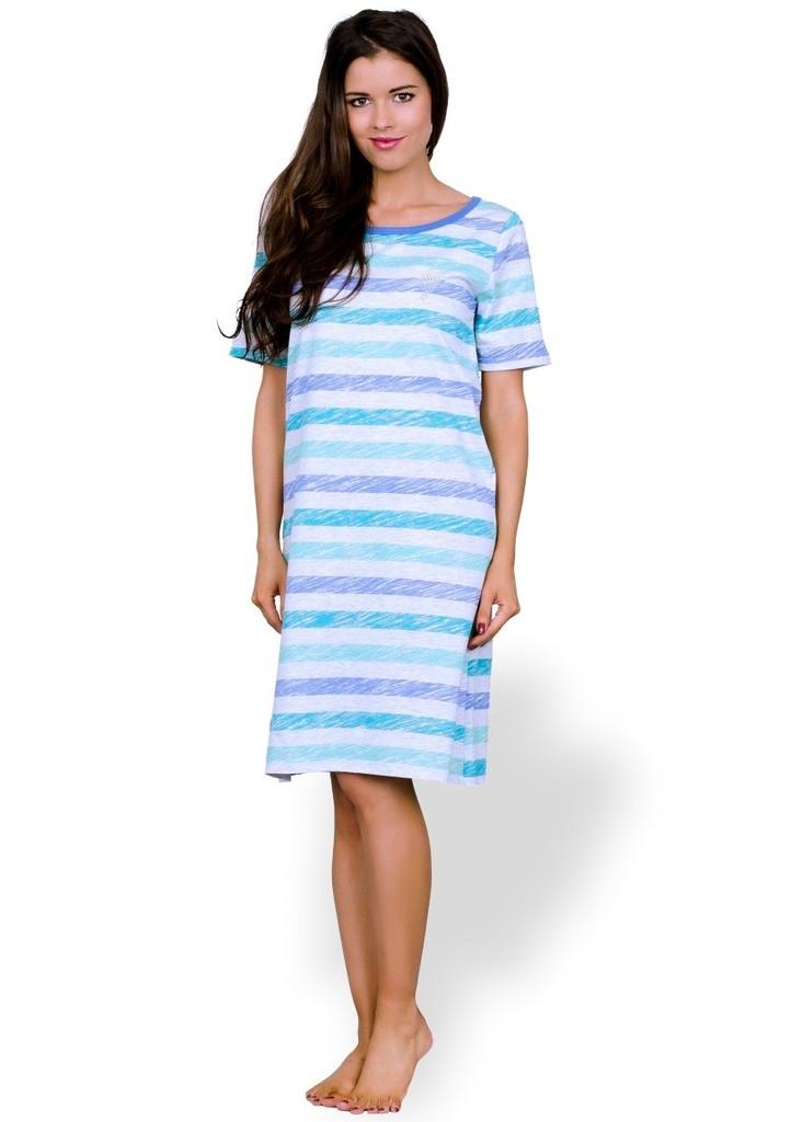 Dámská noční košile s barevným pruhem