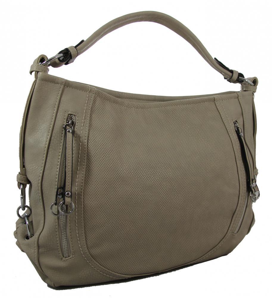 Dírkovaná kabelka na rameno A9151-1 středně šedá