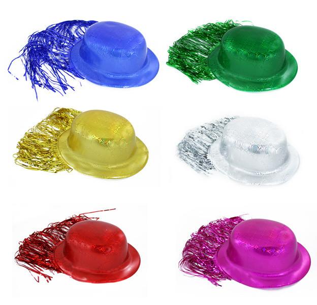 Klobouk plast. s vlasy lesklý
