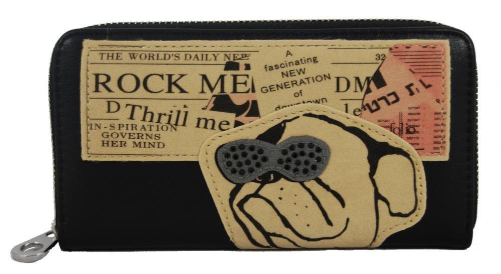 Praktická moderní dámská peněženka černá ROCK FD-024