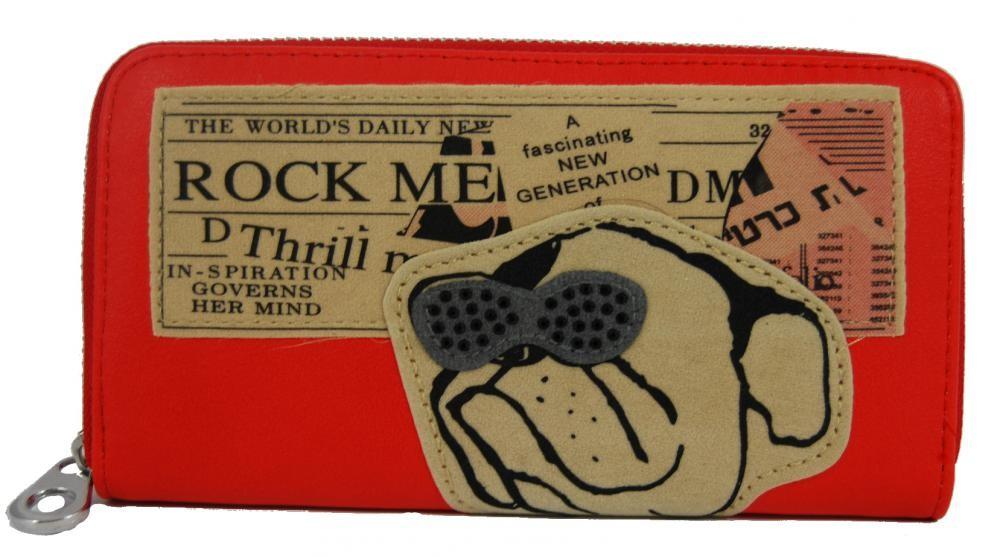Dámská peněženka červená s buldokem ROCK FD-024