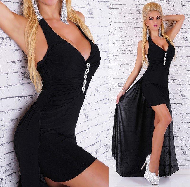 Černé šaty s vlečkou st-sa128bl