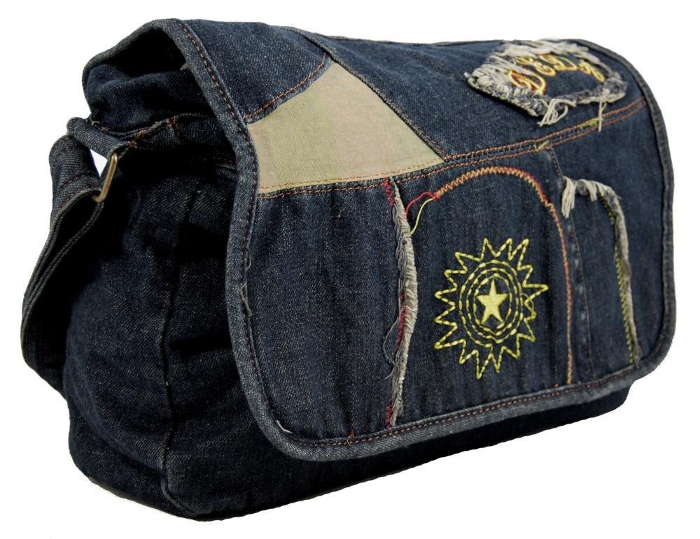 Látková crossbody riflová taška na rameno s výšivkou