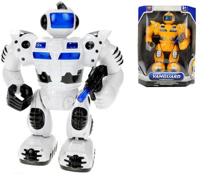 Robot na baterie 25 cm chodící Světlo + Zvuk 2 barvy