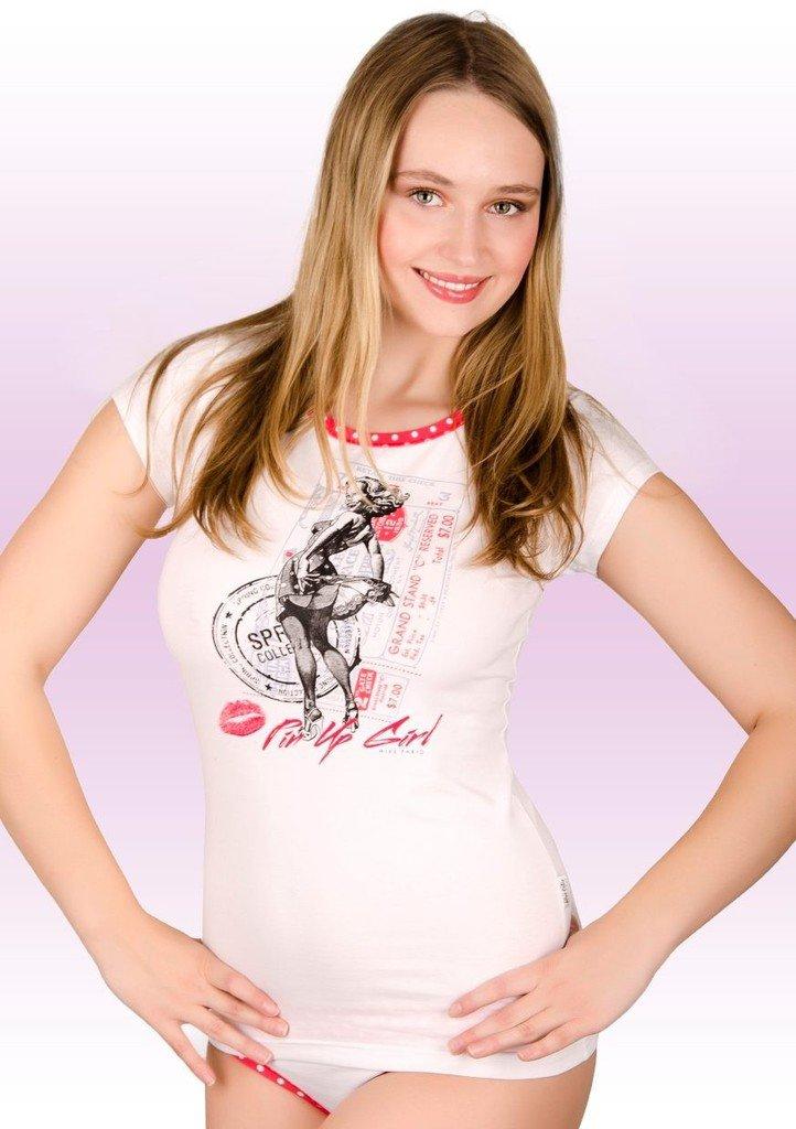 Dámské tričko s obrázkem dívky Ping up