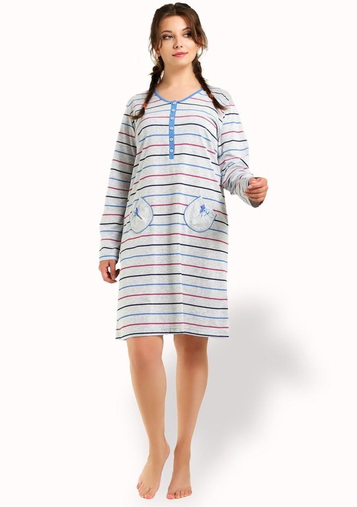 Dámská noční košile se vzorem barevného proužku
