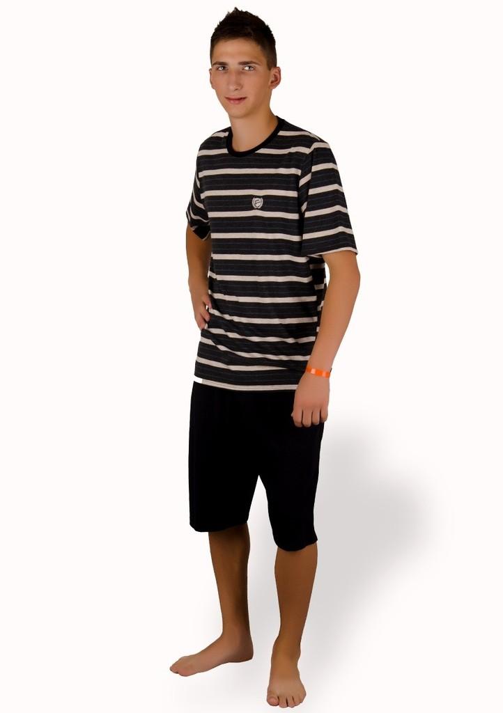 Pánské pyžamo se vzorem barevného proužku a kraťasy
