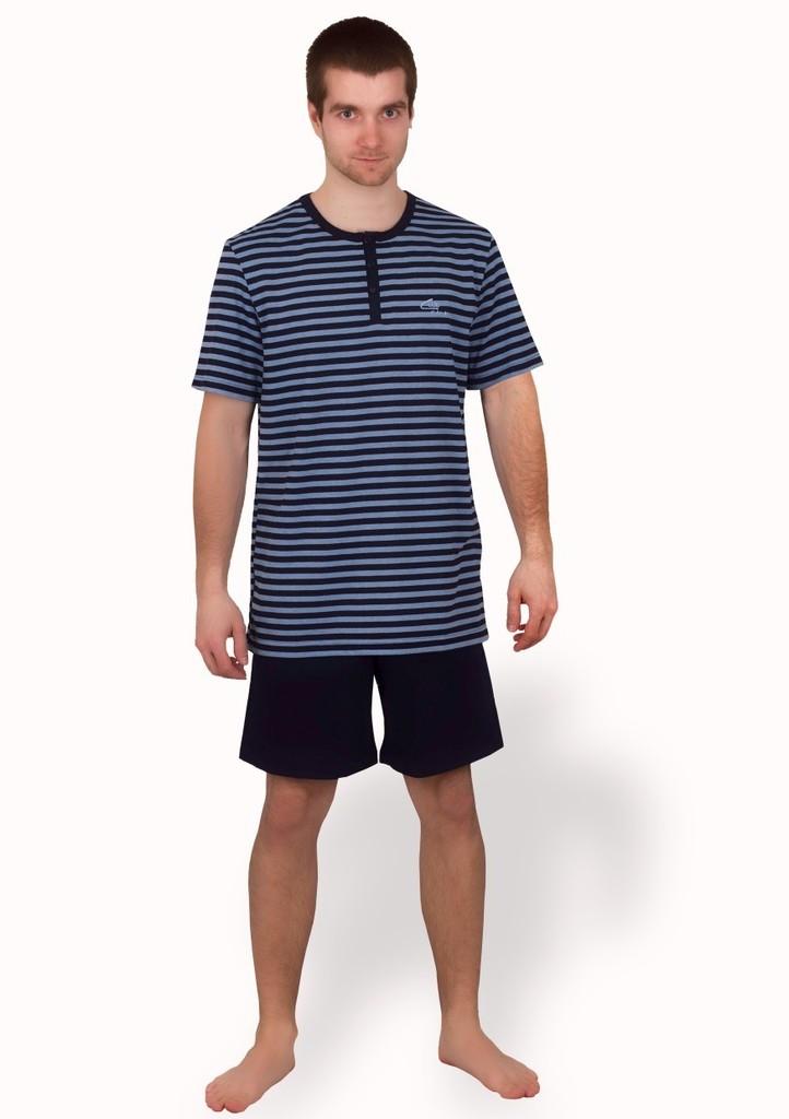 Pánské pyžamo se vzorem jemného proužku a kraťasy
