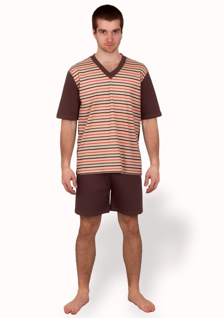 Pánské pyžamo s barevným vzorem a kraťasy