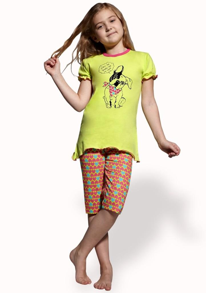 Dětské pyžamo s obrázkem psa a capri kalhotami