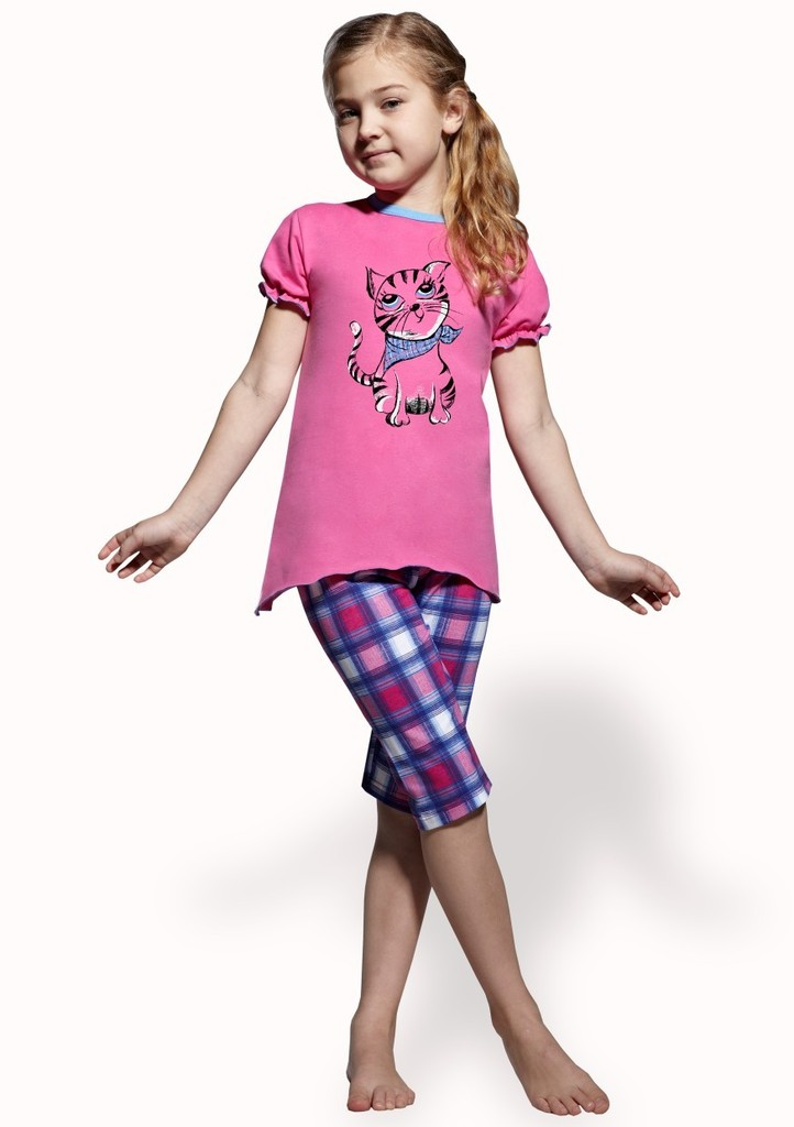 Dětské pyžamo s obrázkem kočky a capri kalhotami