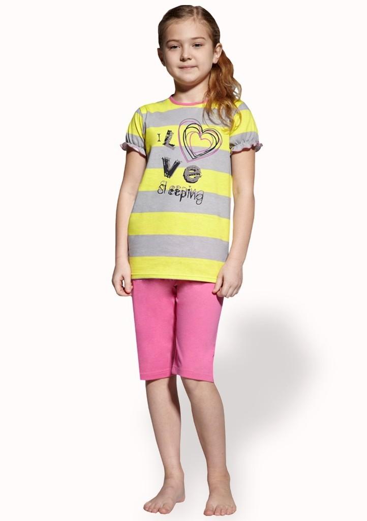 Dětské pyžamo s nápisem I love s capri kalhotami