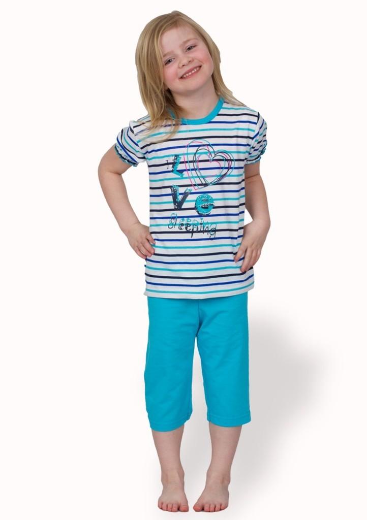 Dívčí pyžamo se vzorem pruhu a capri kalhotami