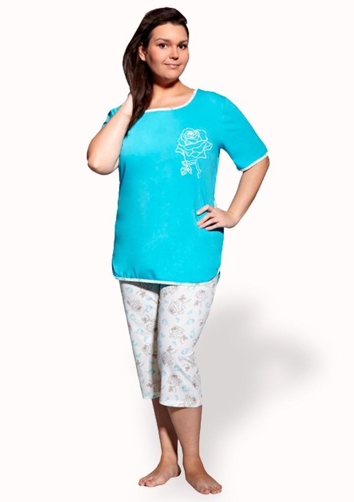 Dámské pyžamo nadměrné velikosti vzor květ