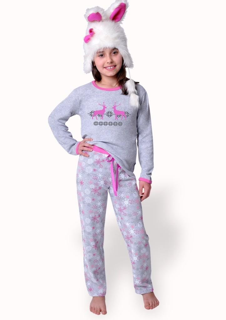 Dívčí pyžamo s kalhotami se vzorem vloček