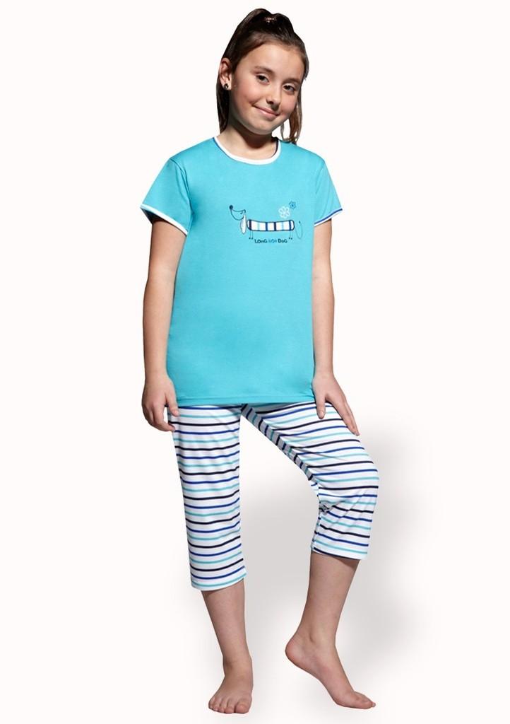 Dívčí pyžamo s obrázkem psa a capri kalhotami