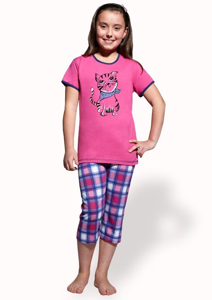 Dívčí pyžamo s obrázkem kočičky a capri kalhotami