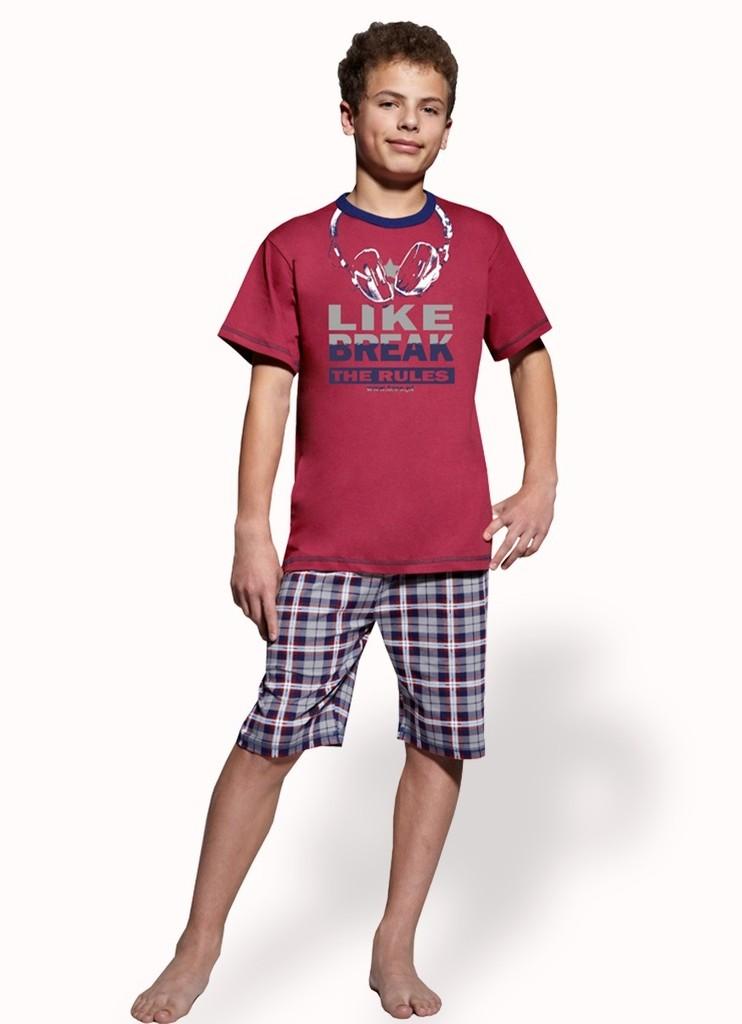Chlapecké pyžamo s nápisem Like break the rules a kraťasy