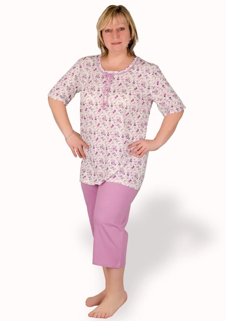 Dámské pyžamo nadměrné velikosti vzor kytičky