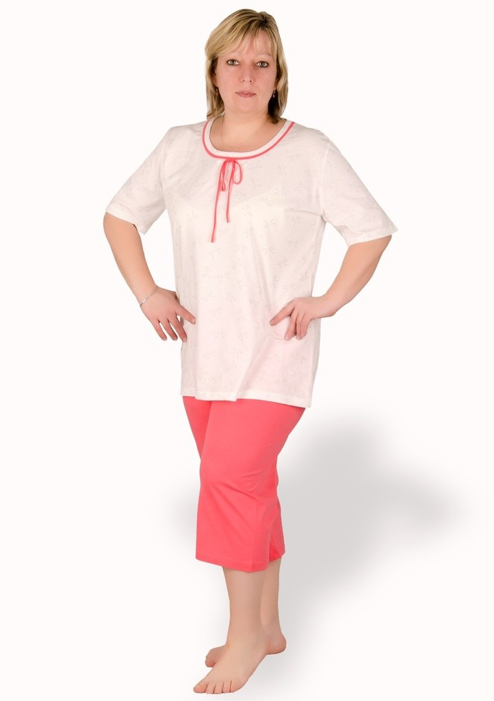 Dámské pyžamo nadměrné velikosti vzor mašličky
