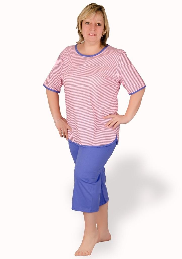 Dámské pyžamo nadměrné velikosti vzor proužek