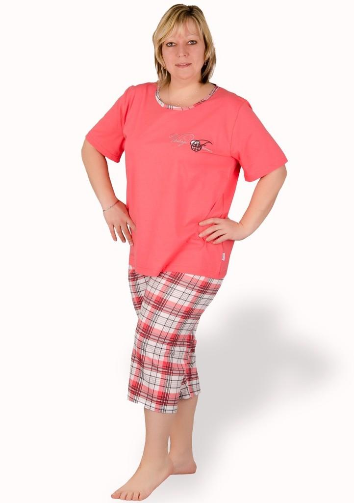 Dámské pyžamo nadměrné velikosti vzor kostka