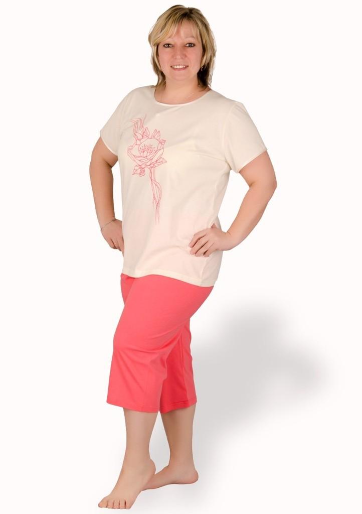 Dámské pyžamo nadměrné velikosti vzor kytka