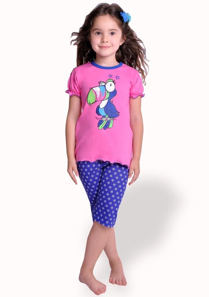 Dětské pyžamo s obrázkem papouška a capri kalhotami