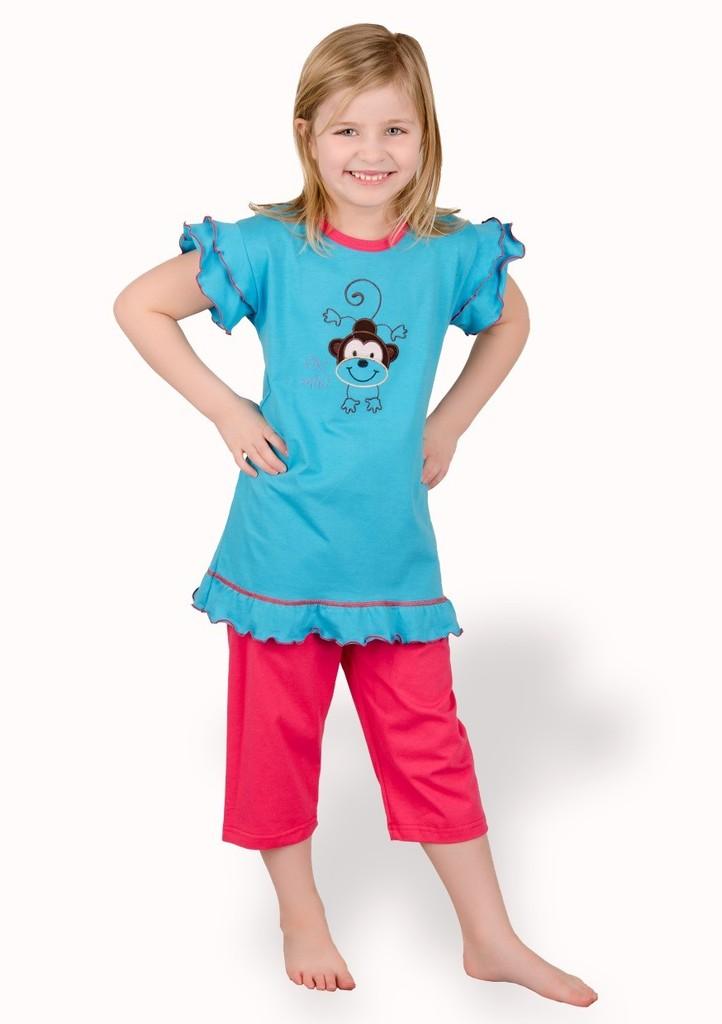 Dětské pyžamo s obrázkem opice a capri kalhotami