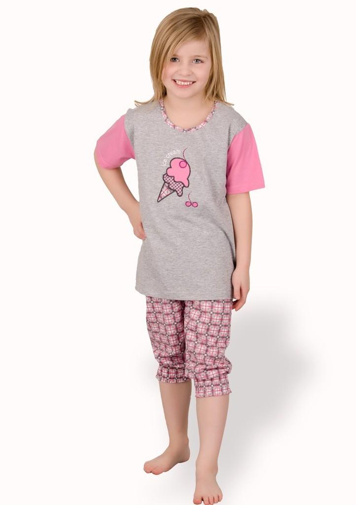 Dětské pyžamo s obrázkem zmrzliny a capri kalhotami