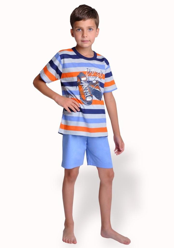 Dětské pyžamo s obrázkem bot a kraťasy