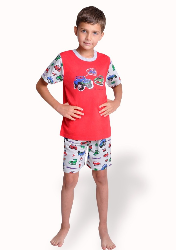 Dětské pyžamo s obrázkem autíčka a kraťasy